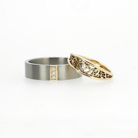 Matching Wedding Band Set Filigree Wedding Ring Diamond