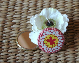 Pocket Mirror - Spring Flower With Organza Gift Bag - Ready To Ship