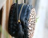 Leopard Pony skin Round Leather Bag - Purse with Tassel - Handmade Bag - Crossbody - Shoulder Bag -  Animal Print Bag- Circle Bag