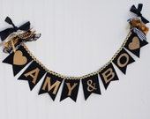 COUPLES SHOWER BANNER / Couples shower decor / Black and gold party decor / Wedding shower banner / Engagement party banner / Photo prop