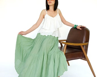 NO.5 Mint Cotton Gauze, Hippie Gypsy Boho Tiered Long Peasant Skirt