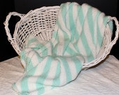 Soft Knit Baby Blanket in Pastel Green and White Stripes
