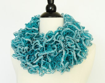 Ruffle Knit Fashion Scarf Turquoise Silver Trim - Womens Scarf, Accessories, Girls Scarf, Gifts For Her, Teen Scarf, Ladies Scarf, Scarves