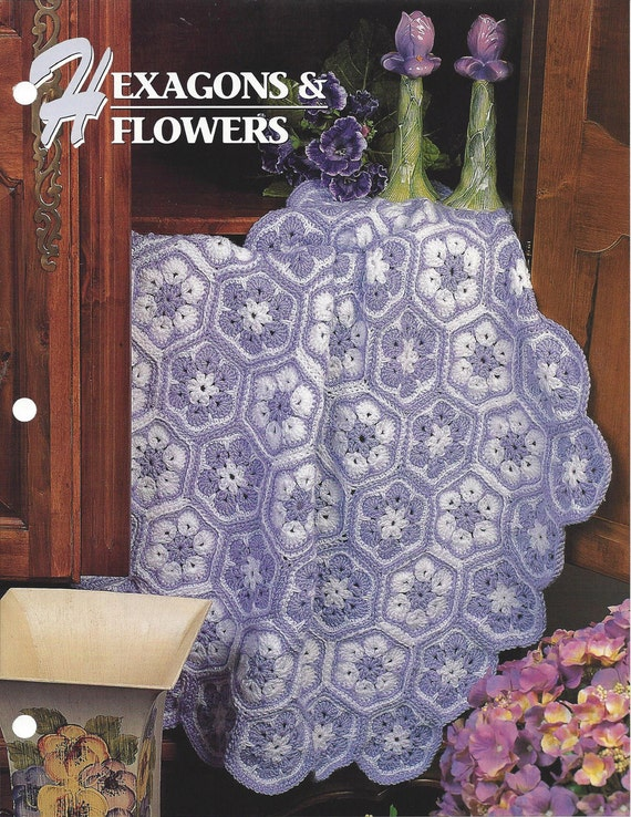 Hexagons And Flowers Annies Crochet Quilt & Afghan