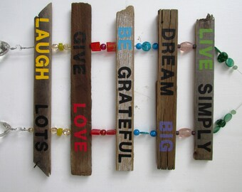 Inspirational Driftwood Art Hanging Sign: Live Simply, Dream Big, Be Grateful, Give Love, Laugh Lots, Painting, Driftwood Art