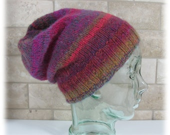 Slouchy Hat-Multi Colored Earthtones-Knitted-Unisex
