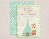 Adorable Tribal Bear Birthday Pow Wow Party Printable Invitation