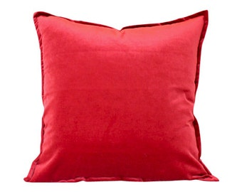 Designer Red Velvet Pillow Cover with Matching Flat Trim