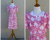 Vintage 80s Pink Floral Lace Peter Pan Collar Dress//RESERVED