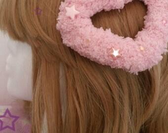 Fairy Kei Decora Lolita Fuzzy Heart Pink Hair Clip
