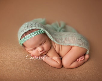 Mint Newborn Headband, Newborn Photo Prop, Beaded Baby Headband, Mint Sequin Headband