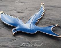 large blue enamel bird pendant swallow dove flying wings peace love token jewelry