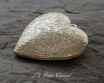 gold toned heart locket pendant embossed repousse shiny finish valentine jewelry supply
