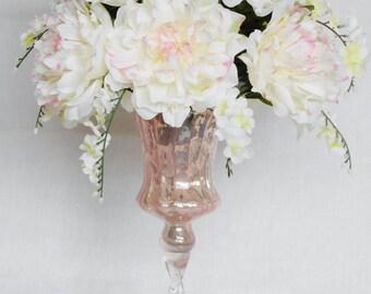Silk Flower Arrangement, White with Pink Peonies, White Wisteria, Pink Pedestal Vase, Artificial Flower Arrangement, Silk Floral Arrangement