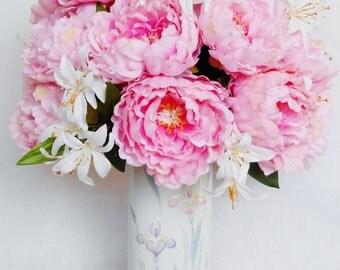 Silk Flower Arrangement, Pink Peonies, Floral Vase, Artificial Flower Arrangement, Silk Floral Arrangement, Spring/Summer Flowers, Flowers