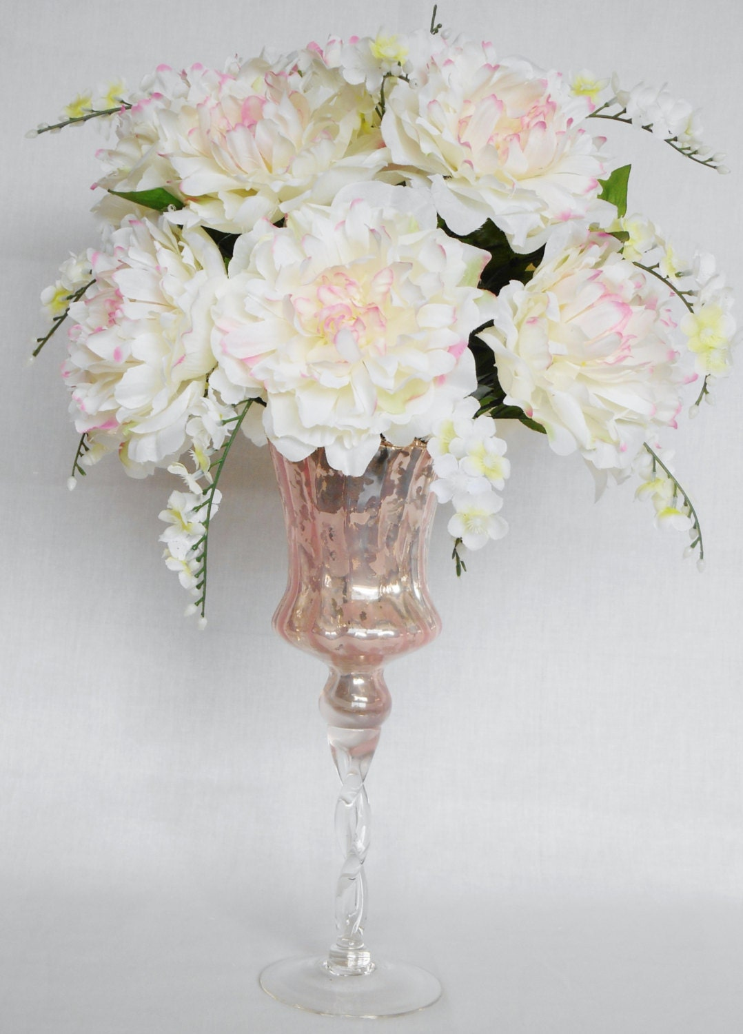 Silk Flower Arrangement White With Pink Peonies White