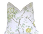 Custom Pillow Cover / Errington by Sarah Richardson for Kravet in Meadow / Green Citrine Teal / Floral / Both Sides / Made to Order