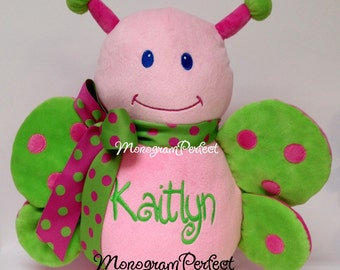 Kaitlyn - Already Personalized - Hot Pink & Lime Green Butterfly Stuffed Animal