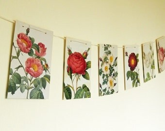 Redoute's Roses Bunting Party Garland, Room Decor, Party Supply