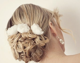 Silk hair flowers, Bridal hair accessories, Bridal hair flowers, Flower hair pins, Wedding hair accessories, Ivory flower for hair