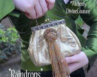 Box Clutch Handbag, Gold Lame', Rhinestones, Beaded Tassel, Gold beads, By Alchemy Divine Couture