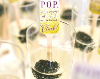 Pop Fizz Clink Wedding Drink Stirrers, Custom Drink Stirrer, Swizzle Stick, Stir Sticks