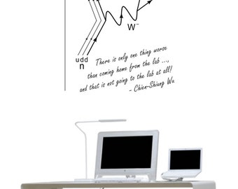Science art - women in science - Chien-Shiung Wu quote and Feynman diagram for beta decay vinyl wall decal / sticker (ID: 121008)