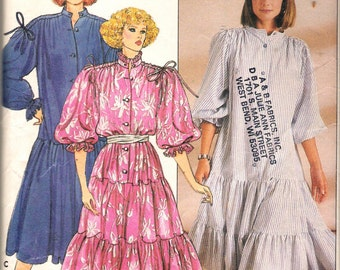 "Vintage 1985 Butterick 3111 Dress with Tiered Ruffled Skirt Sewing Pattern Size L- XL Bust 38""- 40"", 42"" - 44"" UNCUT"