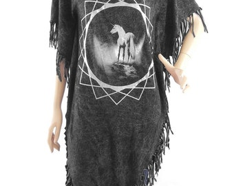 Unicorn Tshirt Maxi Dress animal tshirt women t shirt bleached tshirt black shirt (Measurements - fits great from S - M)