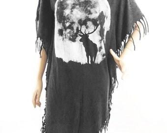Deer T Shirt Deer Shirt women tshirt bleached tshirt black shirt Screen Print (Measurements - fits great from S - M)