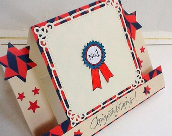 Hand made cards: Congratulations - Number One - First place - 1st - Red- blue  - Vanilla - Side step card - handmade cards - hand stamped