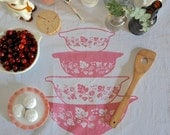 Tea Towel: Vintage Pyrex Pink Gooseberry, Nesting Cinderella Bowls-Screen Printed Cotton -- Soft, Lint Free, Awesome.