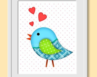 Nursery printable art Bird in Love wall decor. Image 8x10 Blue green red wall decor bird illustration. Instant digital download for home.