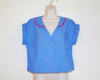 Vintage customized blue blouse