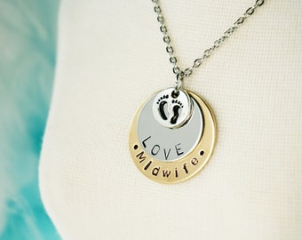 Midwife - Gift Necklace - Hand Stamped Disk - Birthing Gift Jewelry - Nurse Gift