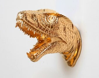 Gold Dinosaur Wall Art - The MINI Wilbur Miniature Gold Resin T-Rex Head - Trex Dinosaur Decor by White Faux Taxidermy - Chic Bedroom Theme