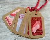 Valentine gift tags, large gift tags 4x 2.5 inches, set of 8