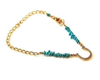 Kingman Turquoise Bracelet Delicate Bracelet Horseshoe Bracelet Lucky Bracelet Turquoise Jewelry Gold Bracelet Stacking Bracelet Stack Jewel