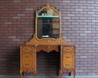 Desk / French Desk / Country French Desk  / French Provincial Desk Vanity With Mirror/ Desk With Mirror ~ Paint To Order ~
