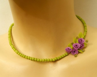 Flower Necklace, Green Necklace, Lavender Jewelry, Roses, Minimal Necklace, Flower Jewelry, Spring Jewelry, Romantic Jewelry, Gift For Her