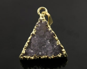 Dazzling Druzy Triangle Pendant in Stunning Earth Tones, Heavy Gold Plated, 19x20mm, A+ Gorgeous Quality, Electroplated Edge (DZY/TRI/155)
