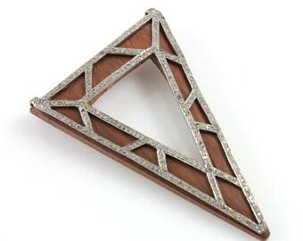 Pave Diamond Pendant, Pave Wood Triangle Pendant, Pave Motif, Pave Art Deco, Pave Designer, Pave Fancy, Pave Diamond Connector.(DCH/PDT/278)