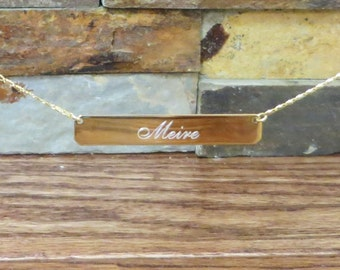 Gold Plated Monogram Necklace- Initial Necklace- Bar Necklace - Personalized
