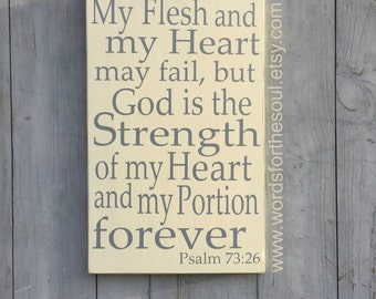 Psalm 73:26 Christian Typography Bible Scripture Subway Art Wood Sign