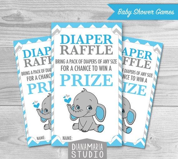 Elephant Diaper Raffle Tickets Printables for Baby Boy Shower DIY blue ...