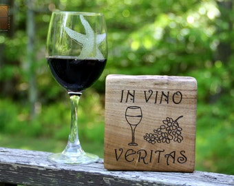 In Vino Veritas - Unique Wine Art Gift - Rustic Wood Custom Personalized Sign -Pyrography art