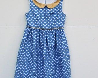 Handmade Dress, Blue Cat dress with Peter Pan Collar, vintage style dress, girls dress