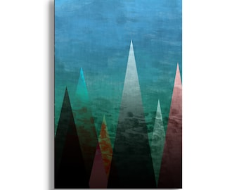 """Stretched Canvas abstract art giclee print """"mountains""""  Large 48"""" x 32"""" modern contemporary room decor, fully stretched canvas wall art"""