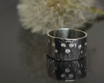 spring meadow - hallmarked, hand engraved sterling silver ring