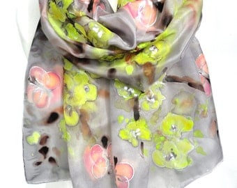 Hand Paint silk Scarf. Fashion Scarf. Silk Painting. Silk Shawl. Unique Gift for her. Mom Birthday. Art to Wear. Silk Art 14x71in Ready2Ship